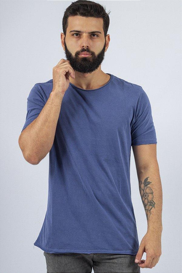 Camiseta Gola Redonda a Fio Azul Estonada