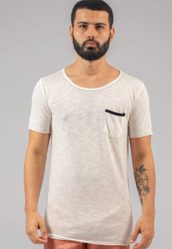 Camiseta de Tricô Masculina Off-White Com Bolso