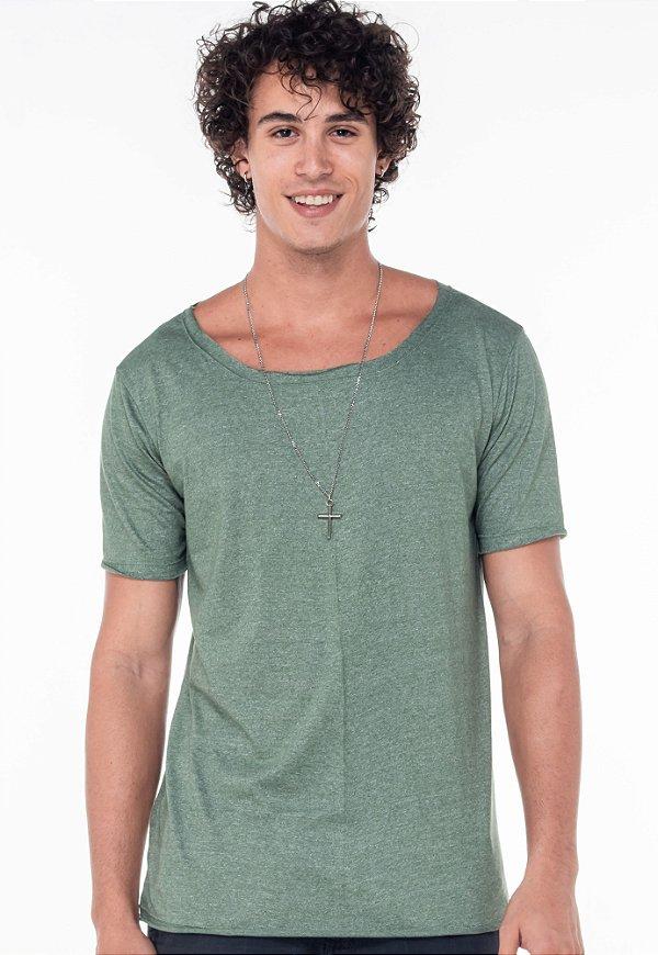 Camiseta Gola Canoa Mescla Verde