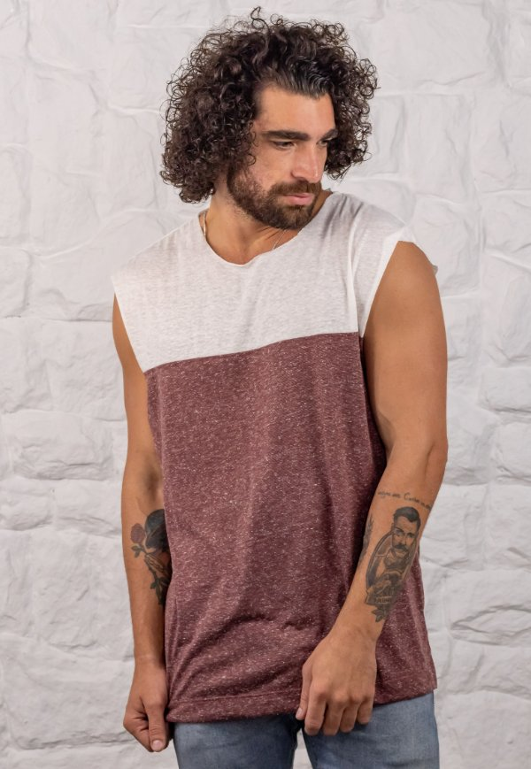 Camiseta Regata Machão 2Face Bordô