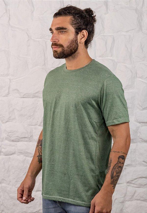 Camiseta Gola Tradicional Mescla Verde