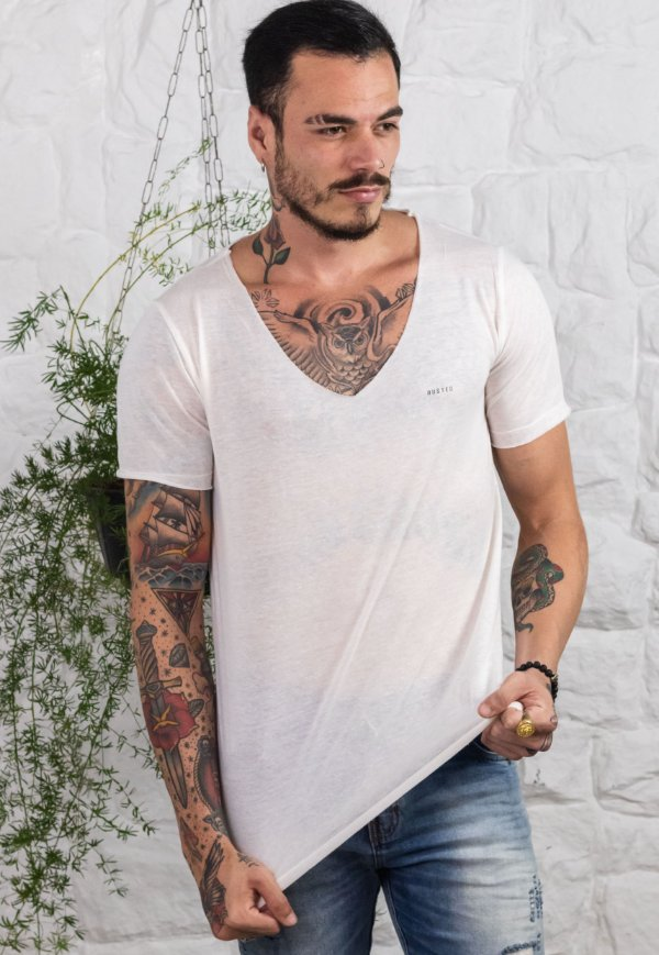 Camiseta V Tricô Cloud Off White