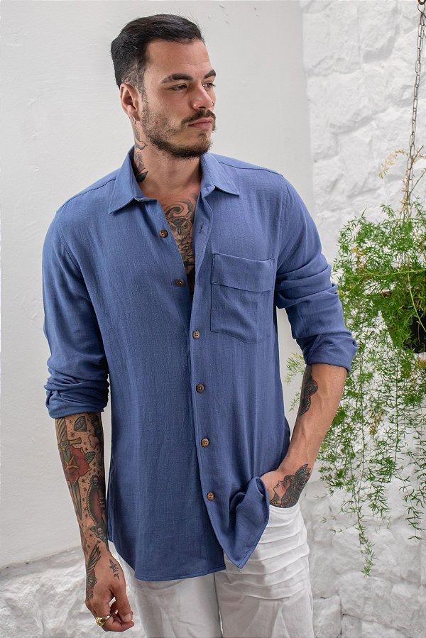 Camisa de Botão Manga Longa Linho Azul