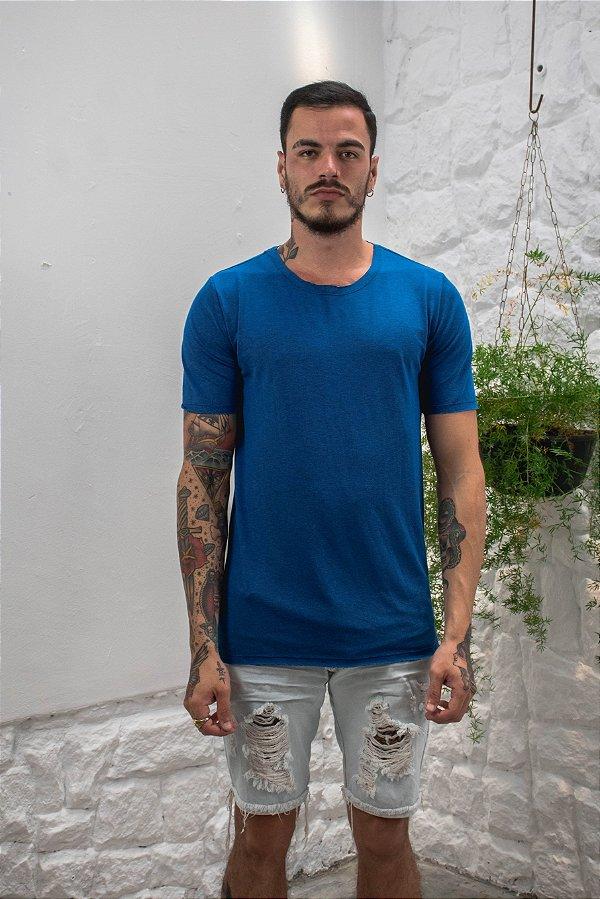 Camiseta Gola Tradicional a Fio Azul Royal