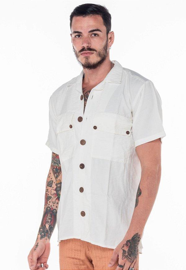 Camisa de Botão Linho Off-White