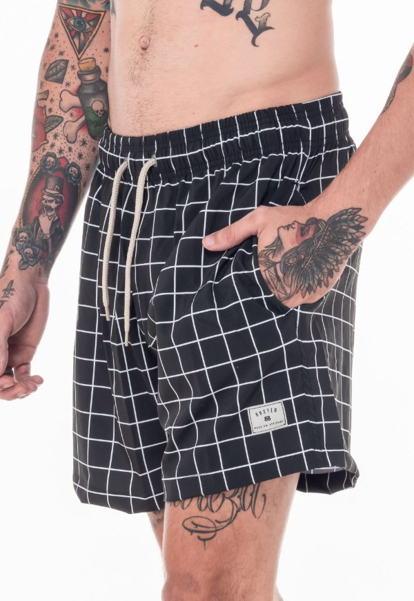Beach Short Preto Grid