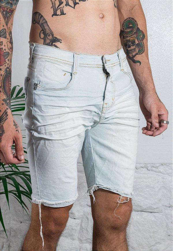 Bermuda Jeans 3D Branca Barra Destroyed
