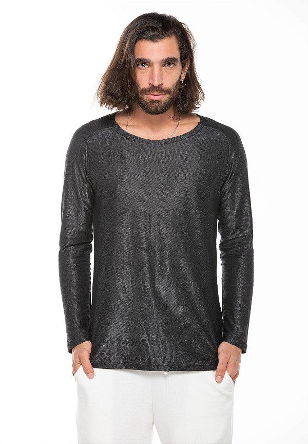 Camiseta Manga Longa a Fio Raglan Minimal Gloss