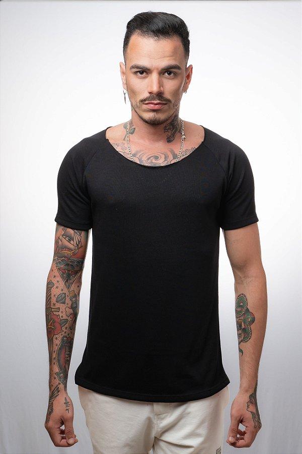 Camiseta Canoa Raglan Long Tricô NN Preto