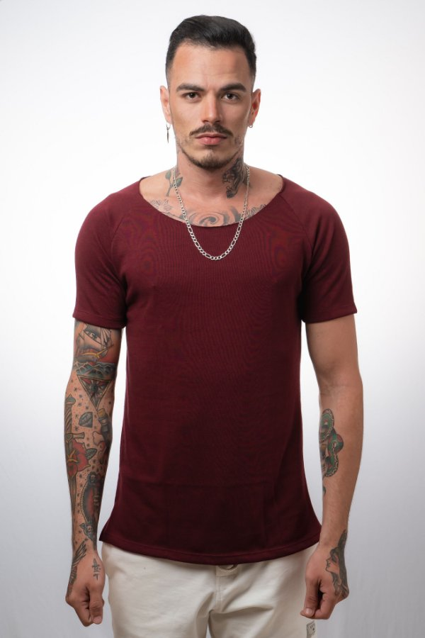 Camiseta Canoa Raglan Long Tricô NN Bordo