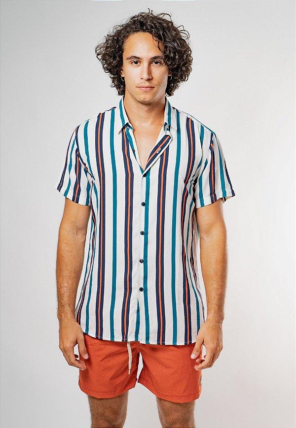 Camisa de Botão Turquesa Line