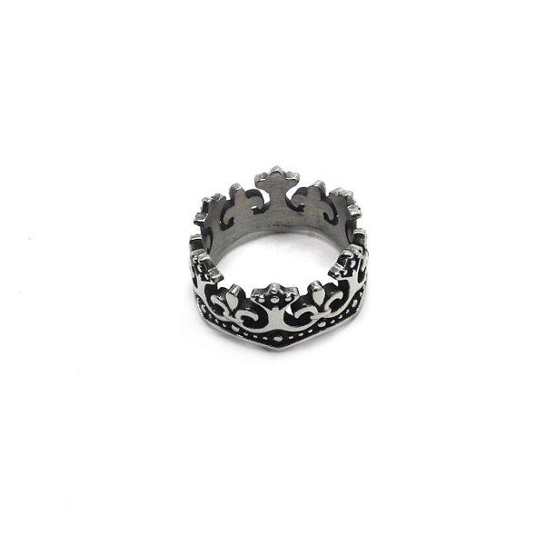 Anel de Aço Inox Coroa Rei Prata