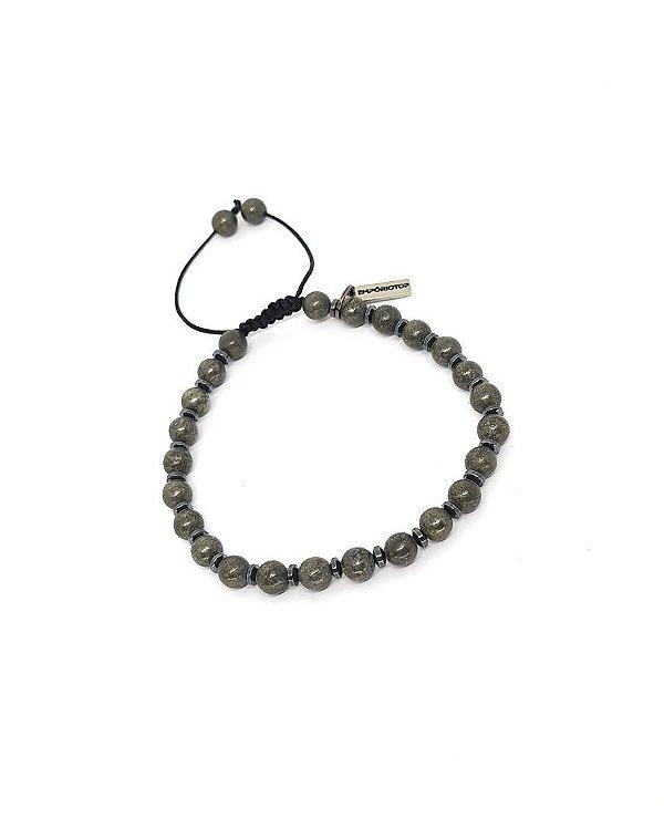Pulseira de Pedras Pirita Grey