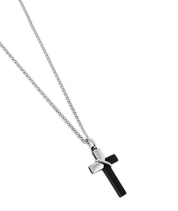 Corrente Aço Inox Cruz Black And Silver
