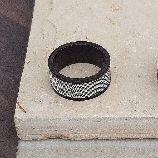 Anel Aço Inox Silver And Black