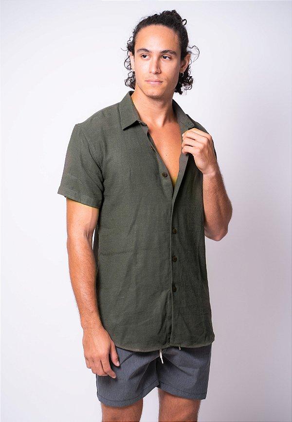 Camisa de Botão Linho Véria Musgo
