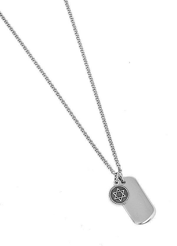 Corrente Aço Inox Medalha Estrela de Davi