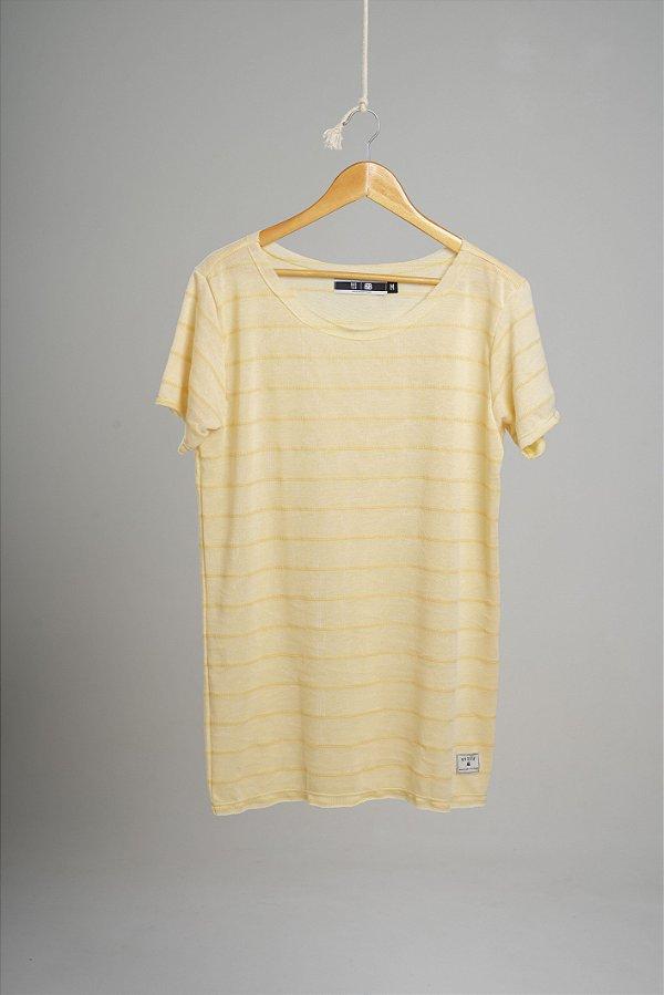 Camiseta Gola Canoa Tricô Ocean Amarela
