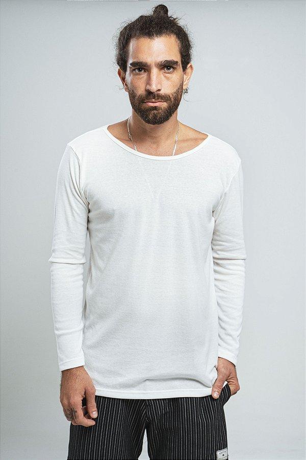 Camiseta Gola Canoa Manga Longa Sweet Skin Off-White