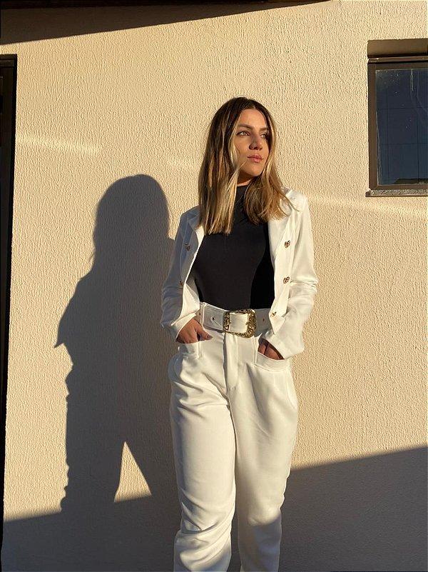 Calça Branca Alfaiataria c/ cinto