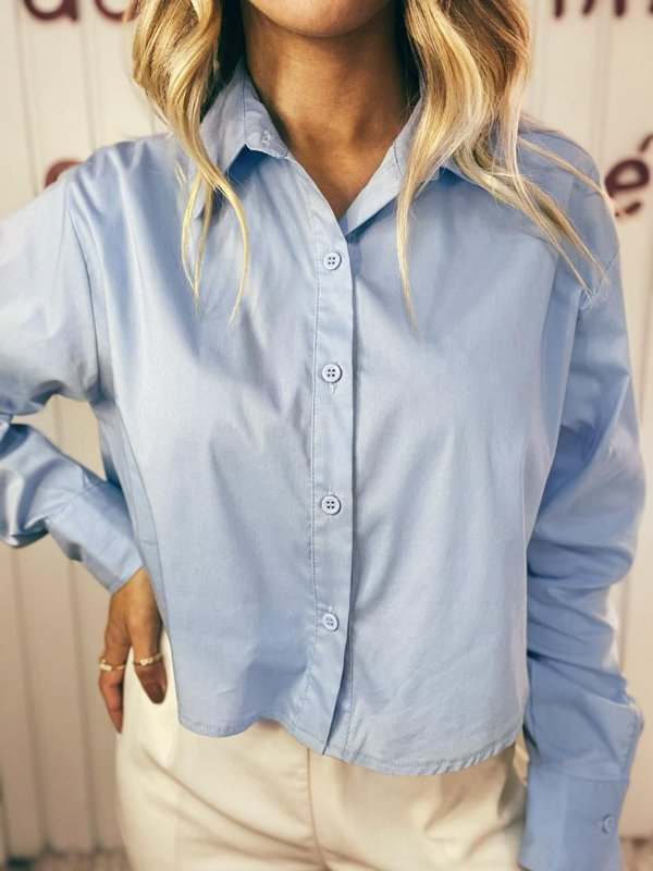 Cropped Camisa Azul