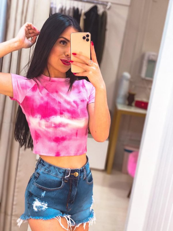 Cropped Tie Dye Pink