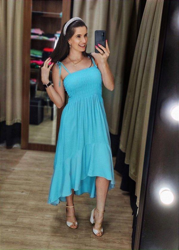 Vestido Mullet Lastex Azul