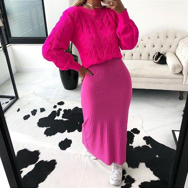 Blusa Trança Neide Relevo - Pink