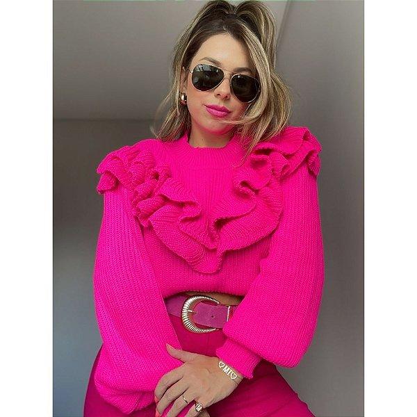Blusa Babados Grécia Pink Neon