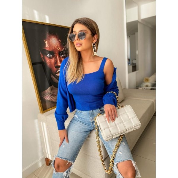 Conjunto Chanel Modal Guilhermina - Azul Bic