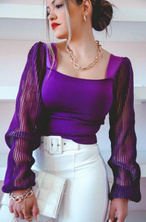 Blusa Tricot Jade Rayon Manda Transparente Roxa
