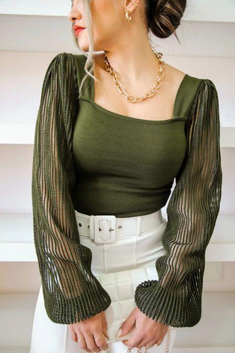 Blusa Tricot Jade Rayon Manda Transparente Verde
