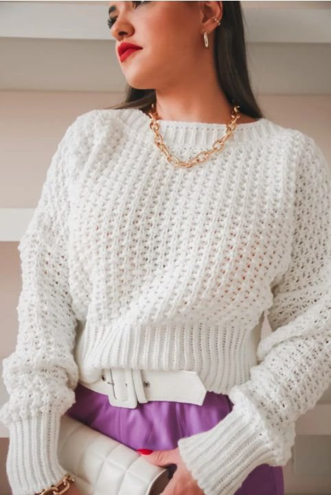 Cropped Tricot Pipoca Off