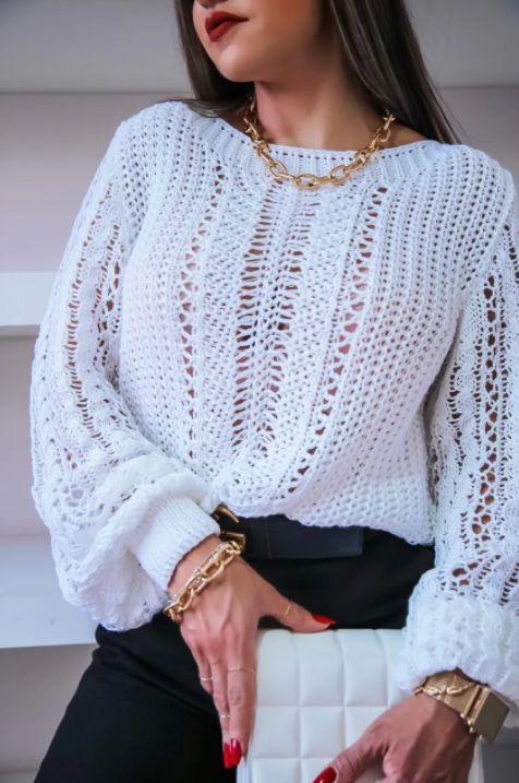 Blusa Tricot Reni Branca
