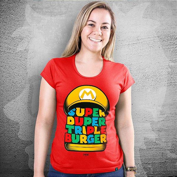 CAMISETA SUPER MARIO BROS | SUPER DUPER TRIPLE BURGER | FEMININA
