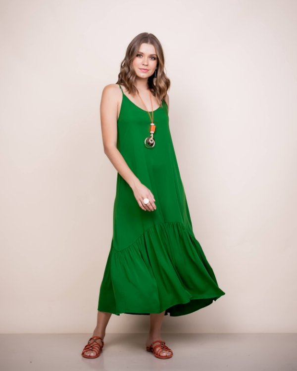Vestido Midi alça Marina Verde Bandeira