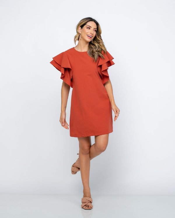 Vestido Chiara Manga Babado Terracota