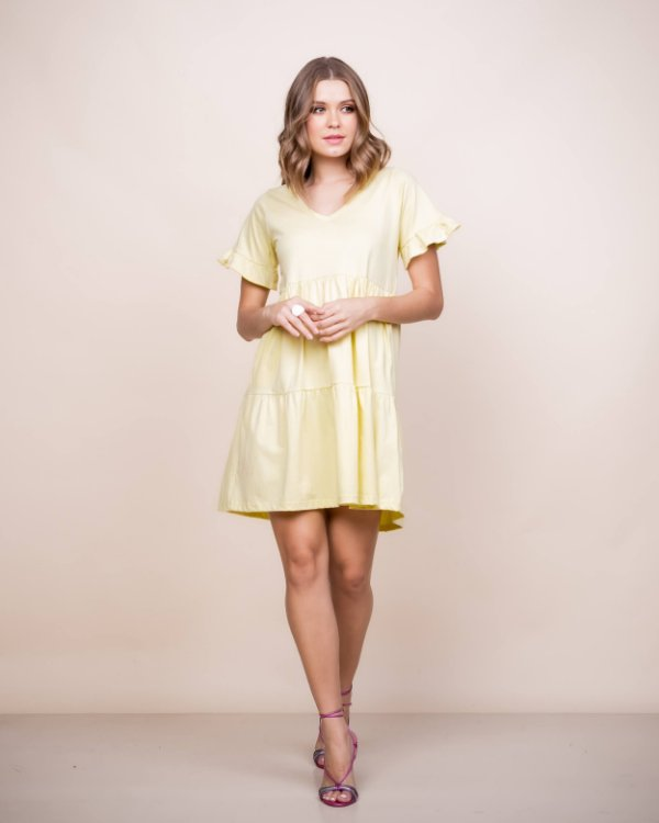 Vestido Malha gola v Nani curto Amarelo