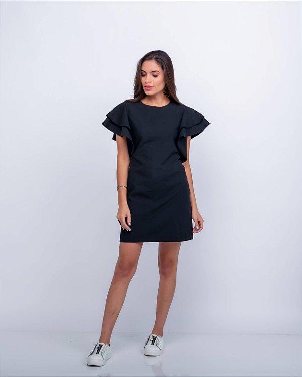 Vestido Chiara Manga Babado Preto