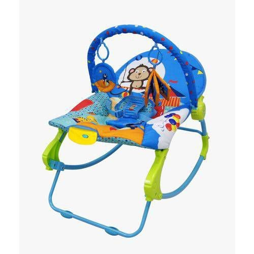 Cadeira de descanso vibratória musical New Rocker Azul color Baby até 18kgs