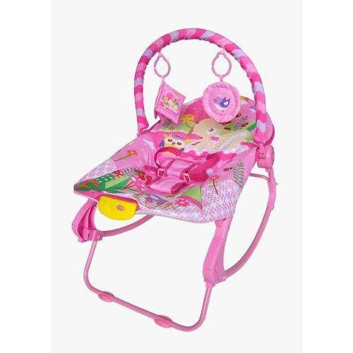 Cadeira de descanso vibratória musical New Rocker rosa color Baby até 18kgs