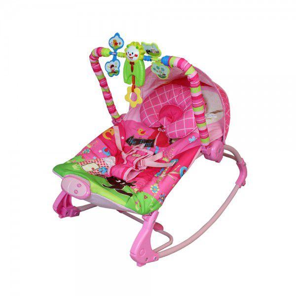 Cadeira de descanso vibratória musical Rocker rosa color Baby até 18kgs