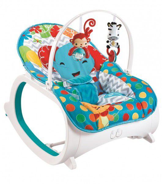 Cadeira de descanso vibratória musical e com balanço safari Azul até 18kgs
