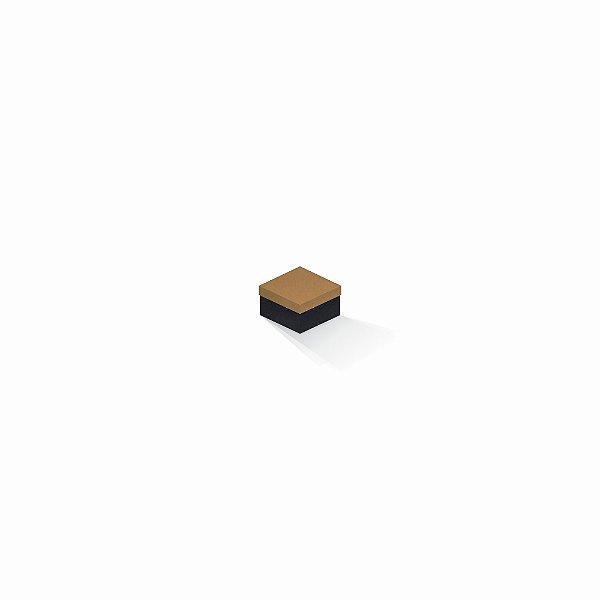 Caixa de presente | Quadrada F Card Ocre-Preto 5,0x5,0x3,5