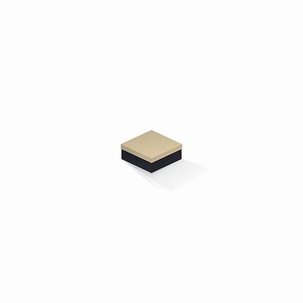 Caixa de presente | Quadrada F Card Areia-Preto 7,0x7,0x3,5