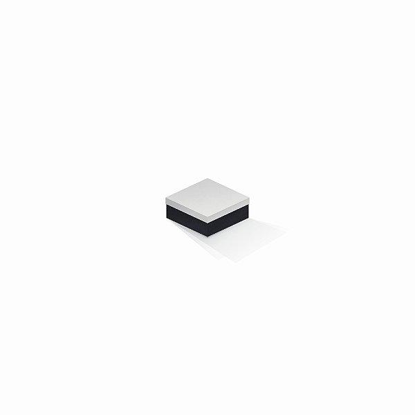 Caixa de presente | Quadrada F Card Branco-Preto 7,0x7,0x3,5