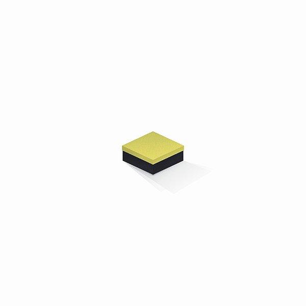 Caixa de presente | Quadrada F Card Canário-Preto 7,0x7,0x3,5