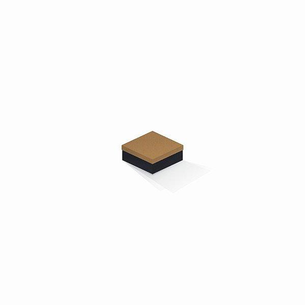Caixa de presente | Quadrada F Card Ocre-Preto 7,0x7,0x3,5