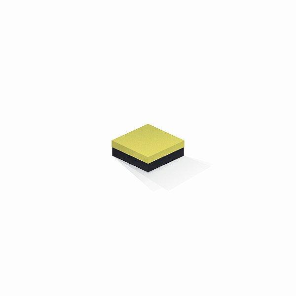Caixa de presente | Quadrada F Card Canário-Preto 8,5x8,5x3,5