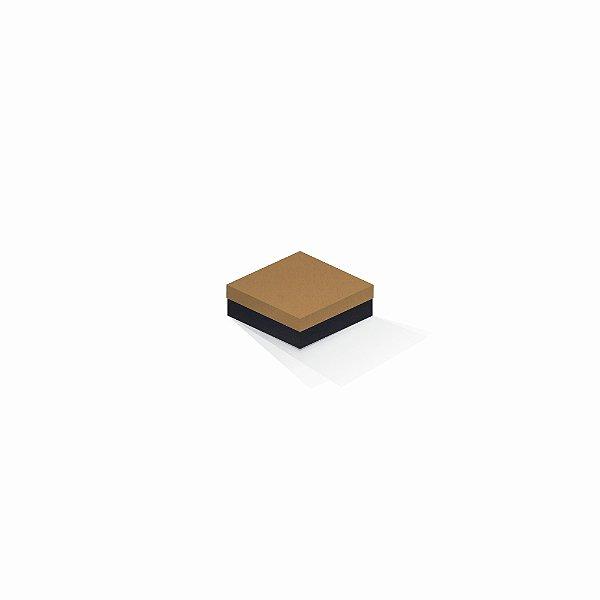Caixa de presente | Quadrada F Card Ocre-Preto 8,5x8,5x3,5